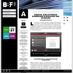 BibNum, bibliothèque numérique d'histoire des sciences