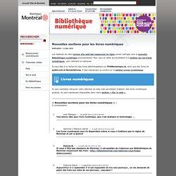 Bibliothèque numérique » Blog Archive » Nouvelles sections pour les livres numériques