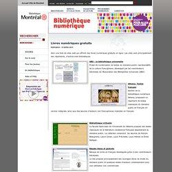 livres numériques gratuits - bibliothèque numérique de Montréal