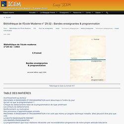 Bibliothèque de l'Ecole Moderne n° 29-32 - Bandes enseignantes & programmation