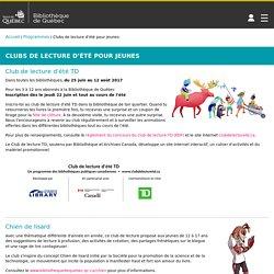 Bibliothèque de Québec – Clubs de lecture d'été pour jeunes