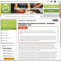 Bibliothèque virtuelle Répertoire de révision en sciences - Troisième secondaire - ATS