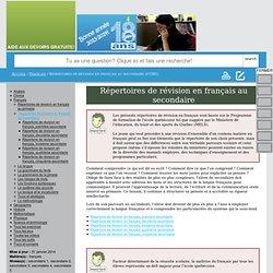 Répertoires de révision en français au secondaire