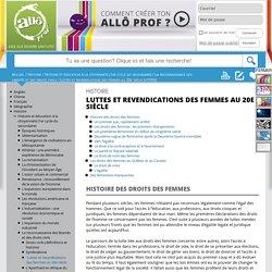 Allô Prof- Luttes et revendications des femmes au 20e siècle