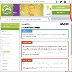 Bibliothèque virtuelle Les classes de mots