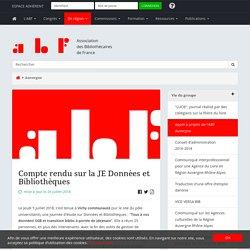 Compte rendu sur la JE Données et Bibliothèques - Association des Bibliothécaires de France - Groupe régional Auvergne