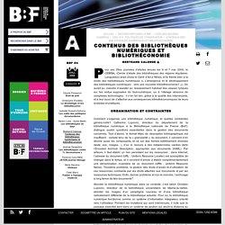 Contenus des bibliothèques numériques et bibliothéconomie