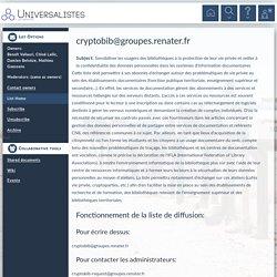cryptobib - Sensibiliser les usagers des bibliothèques à la protection de leur vie privée et veiller à la confidentialité des données personnelles dans les systèmes d'information documentaires