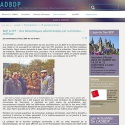 BDP & FPT : Des bibliothèques décentralisées par la fonction... publique