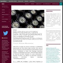 Bibliothèques et Open data : retour d'expérience de la Bibliothèque départementale des Côtes d'Armor