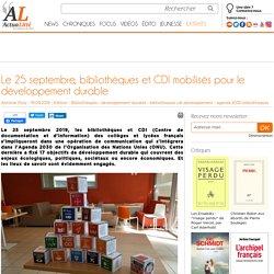 Le 25 septembre, bibliothèques et CDI mobilisés pour le développement durable