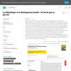Pascale Guertin, Les bibliothèques et le développement durable : Un lien de plus en plus fort