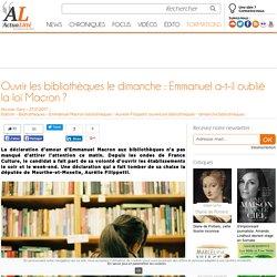 Ouvrir les bibliothèques le dimanche : Emmanuel a-t-il oublié la loi Macron ?