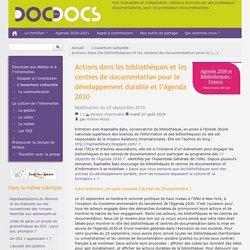 Actions dans les bibliothèques et les centres de documentation pour le développement durable et l'Agenda 2030