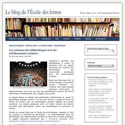 Les relations des bibliothèques avec les établissements scolaires