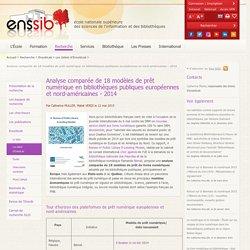 Analyse comparée de 18 modèles de prêt numérique en bibliothèques publiques européennes et nord-américaines - 2014