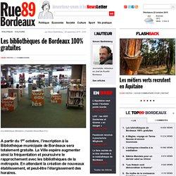 Les bibliothèques de Bordeaux 100% gratuites