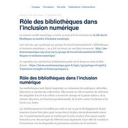 Rôle des bibliothèques dans l'inclusion numérique – blog.animtic