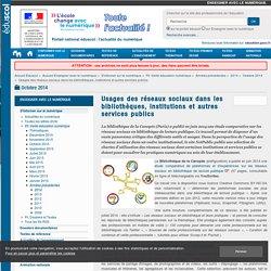 Usages des réseaux sociaux dans les bibliothèques, institutions et autres services publics