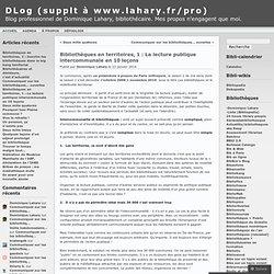 Bibliothèques en territoires, 1 : La lecture publique intercommunale en 10 leçons