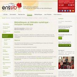 Bibliothèques et littératie numérique - inclusion numérique