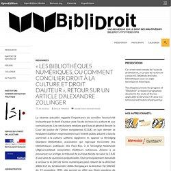 «Les bibliothèques numériques, ou comment concilier droit à la culture et droit d'auteur», retour sur un article d'Alexandre Zollinger