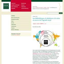 Les bibliothèques, le plaidoyer et la mise en œuvre de l'Agenda 2030