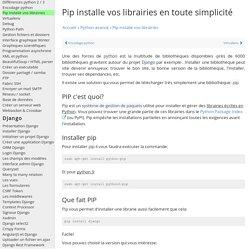 Pip installe vos bibliothèques, apprendre à utiliser pip install - Python Programmation Cours Tutoriel Informatique Apprendre