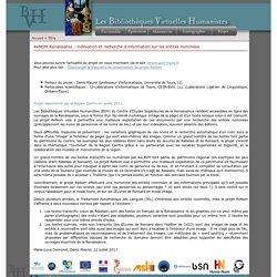 Les Bibliothèques Virtuelles Humanistes - ReNOM Renaissance : indexation et recherche d'information sur les entités nommées