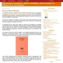 Guillaume Budé et Wikipedia - Bibliothèque numérique & Edition scientifique (auteur A. Moatti)