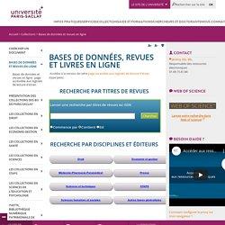 Bases de données et revues en ligne - Bibliothèques de l'Université Paris-Sud