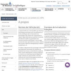 Bibliothèques - Université de Montréal: Citer selon les normes de l'APA