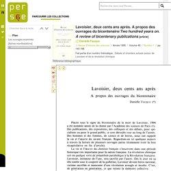 Lavoisier, deux cents ans après. A propos des ouvrages du bicentenaire/Two hundred years on. A review of bicentenary publications