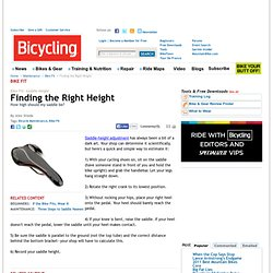 Bicycle Fit: Find the Right Saddle Height