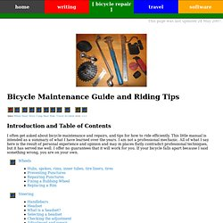 Bicycle Maintenance Guide and Riding Tips