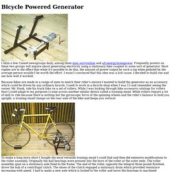 Bicycle Powered Generator
