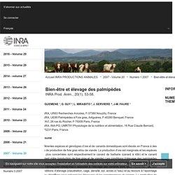 INRA - 2007 - PRODUCTIONS ANIMALES - Bien-être et élevage des palmipèdes