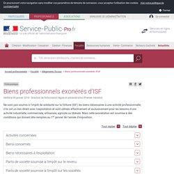 Biens professionnels exonérés d'ISF - professionnels