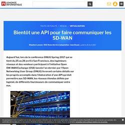 Bientôt une API pour faire communiquer les SD-WAN