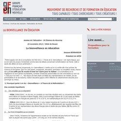 Jacques BERNARDIN - Refondation de l'école - école de la bienveillance - respect et exigence - conflit d'idées - auto-évaluation - autonomie de l'élève