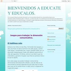 BIENVENIDOS A EDUCATE Y EDUCALOS.: Juegos para potenciar dimensión.comunicativa