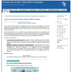 bienvenue dans la rubrique dédiée à l'EMC Terminale - Lectures du monde : blog d'HG Terminales