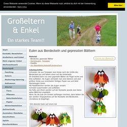 Eulen aus Bierdeckeln und gepressten Blättern - Tiere Basteln - Meine Enkel und ich - Made with schwedesign.de