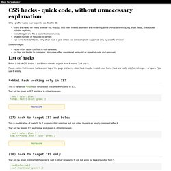 Big list of CSS hacks.