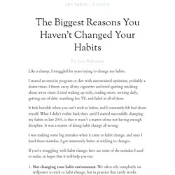 The Biggest Reasons You Haven't Changed Your Habits