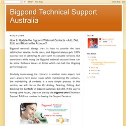 How to Update the Bigpond Webmail Contacts?