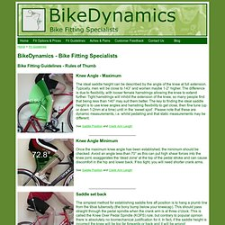 BikeDynamics - Bike Fitting Specialists - Fit Guidelines