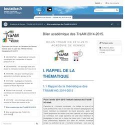TraAM HG 2014-2015 - Bilan académie de Rennes