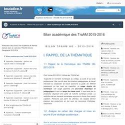 TraAM HG 2015-2016 - Bilan académie de Rennes