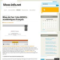 Bilan de l'an 1 des MOOCs académiques français